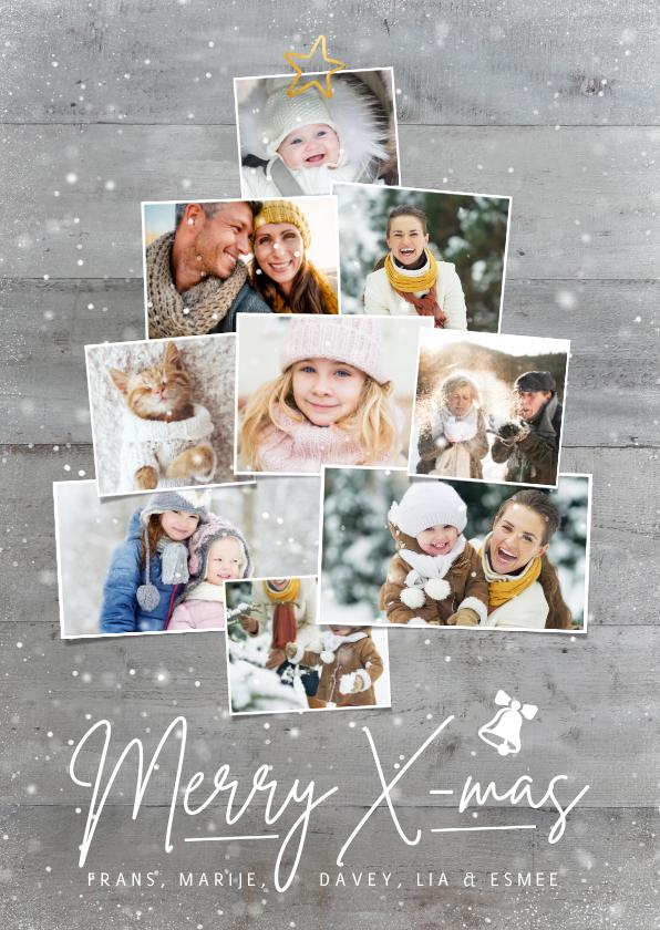Fotokaarten - Winterse kerstkaart met eigen foto's in een kerstboom vorm
