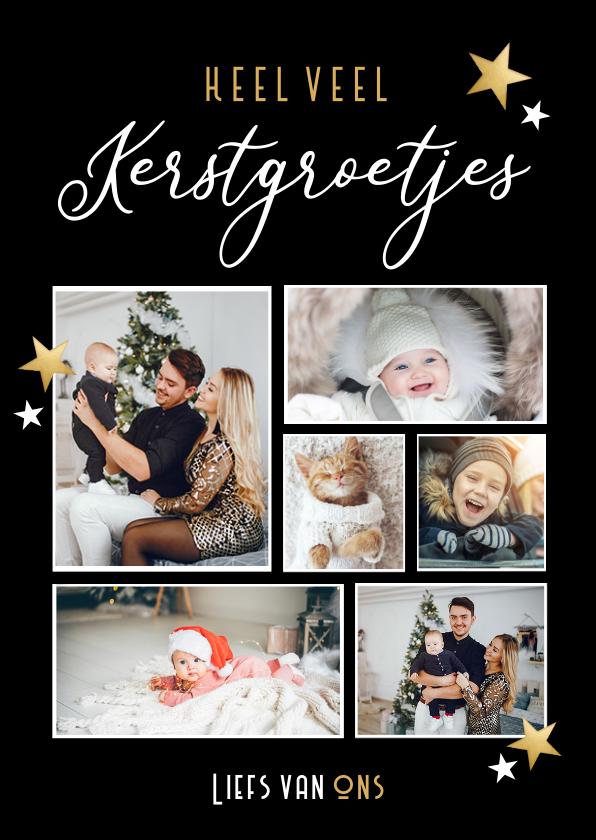 Fotokaarten - Zwarte fotocollage kerstkaart - kerstgroetjes van ons