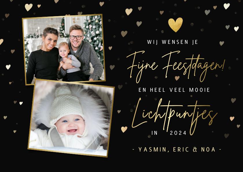 Fotokaarten - Zwarte fotokaart kerst - met gouden hartjes en 2 foto's