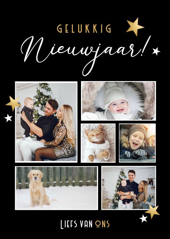 Fotokaarten - Zwarte staande fotocollage nieuwjaarskaart met 6 foto's