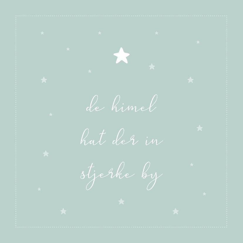 Fryske kaartsjes - De himel hat der in stjerke by fryske condoleance kaart