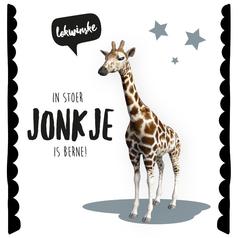 Fryske kaartsjes - Felicitatiekaart geboorte zoon giraffe Frysk