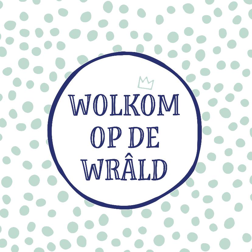 Fryske kaartsjes - Fryske felicitatie kaart Wolkom op de wrâld