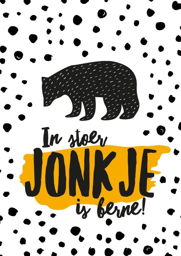 Fryske kaartsjes - Fryske felicitatiekaart geboorte zoon beer okergeel