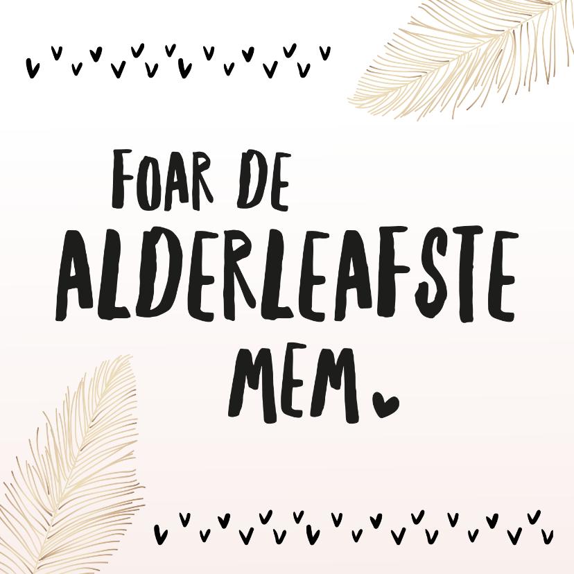 Fryske kaartsjes - Fryske moederdagkaart roze  met veertjes
