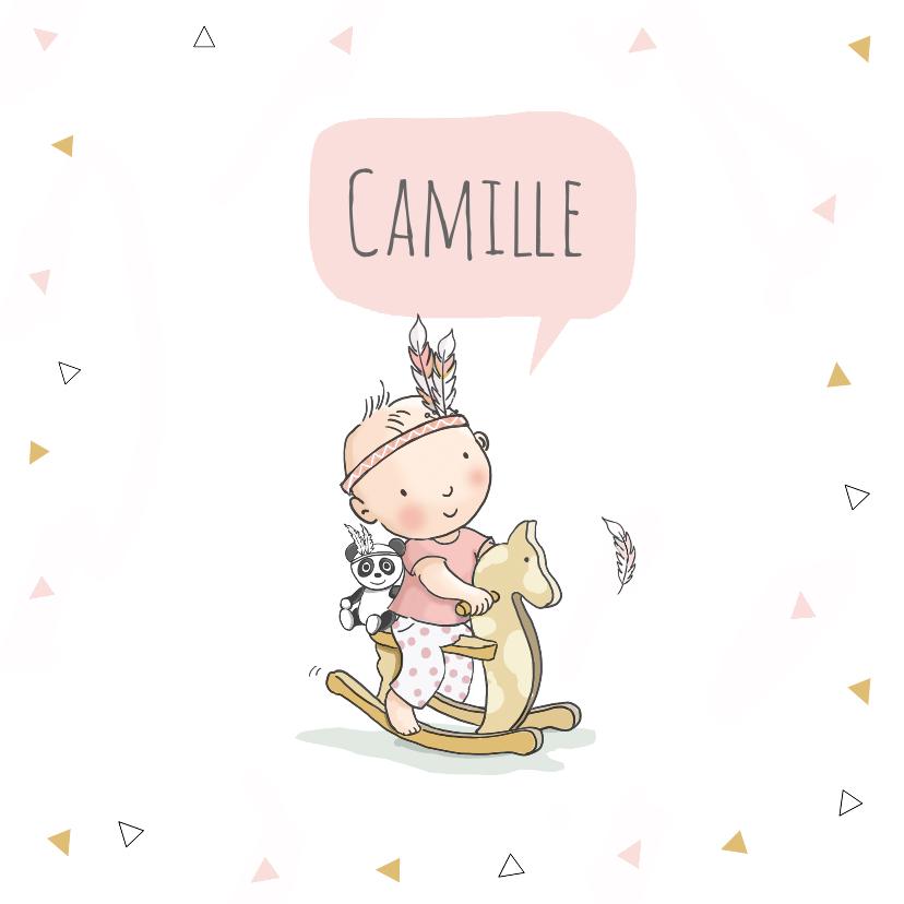 Geboortekaartjes - Geboortekaart meisje indiaan paard