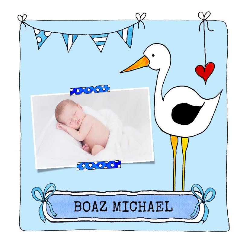 Geboortekaartjes - Geboortekaartje jongen illustratie ooievaar met foto - SD