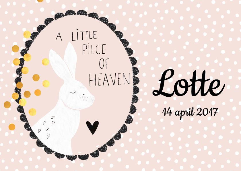 Geboortekaartjes -  'A little piece of heaven' lief geboortekaartje