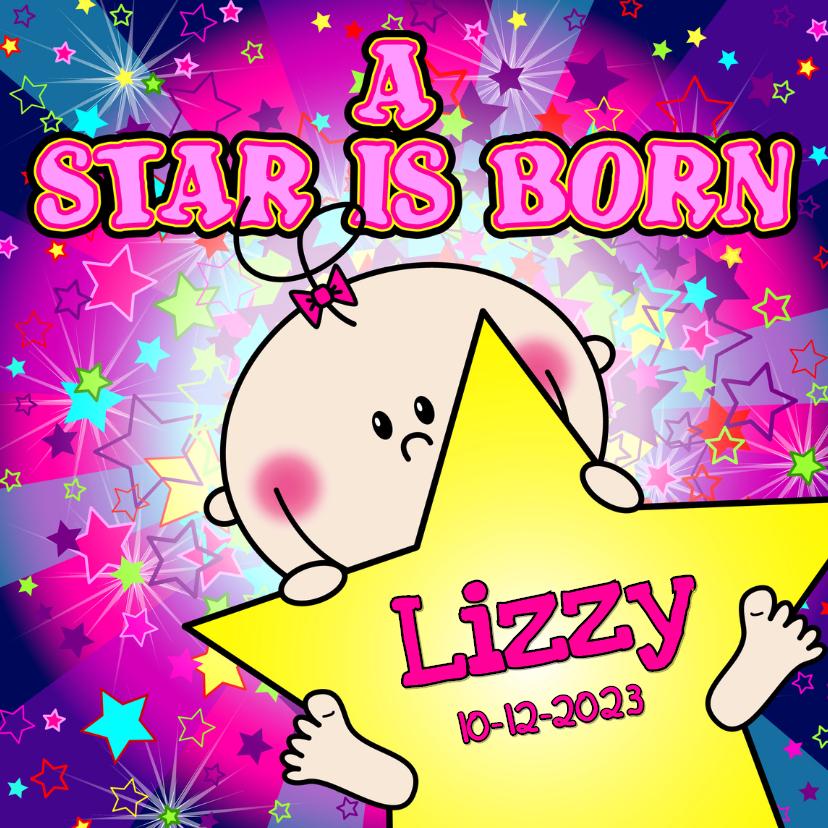 Geboortekaartjes - A star is born MEISJE sterren
