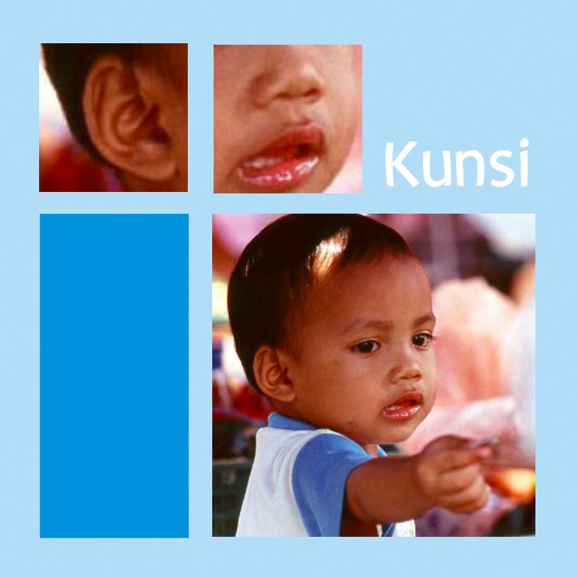 Geboortekaartjes - Adoptie jongen met eigen fotos