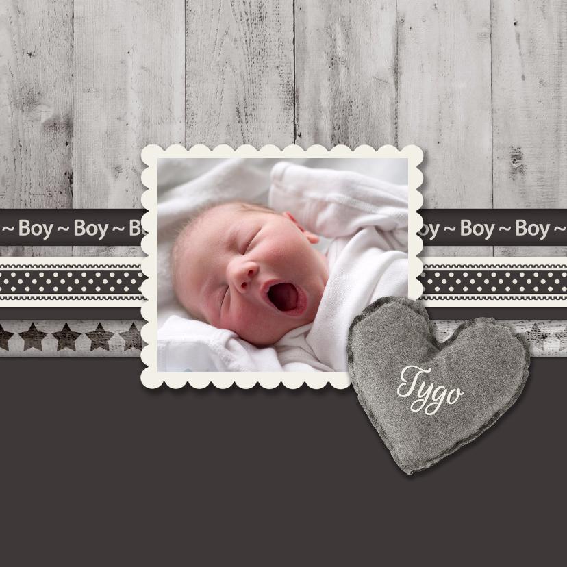 Geboortekaartjes - Antraciet Boy - BK