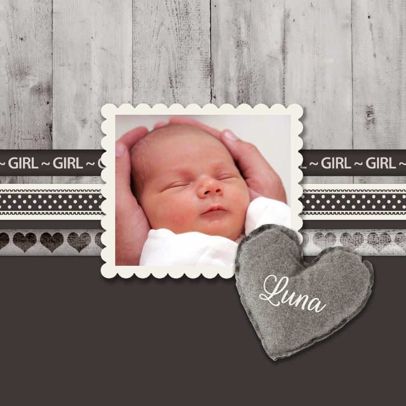 Geboortekaartjes - Antraciet Girl - BK