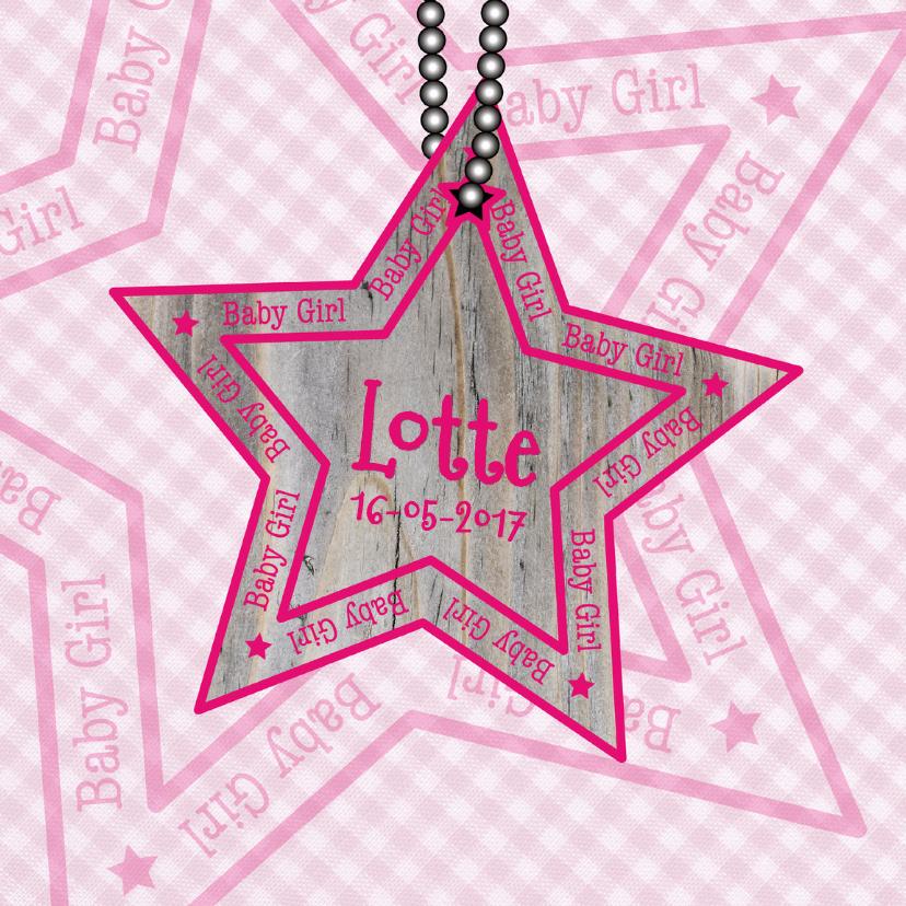 Geboortekaartjes - Baby Girl ruit ster roze