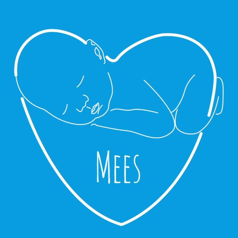 Geboortekaartjes - Baby hart blauw wit vk