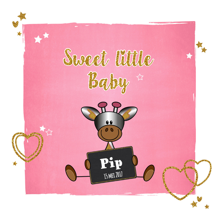 Geboortekaartjes - Baby lief en glamour girafje
