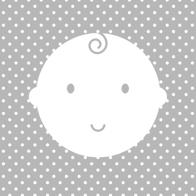 Geboortekaartjes - Babygezichtje op stippels