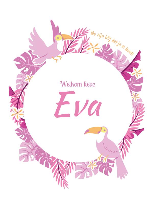 Geboortekaartjes - Babykaart jungle toekan roze paars