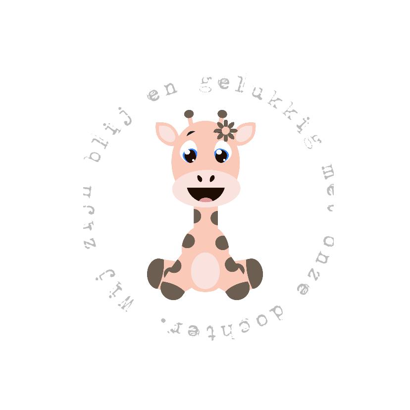 Geboortekaartjes - Babykaartje Giraf Meisje - LOVZ