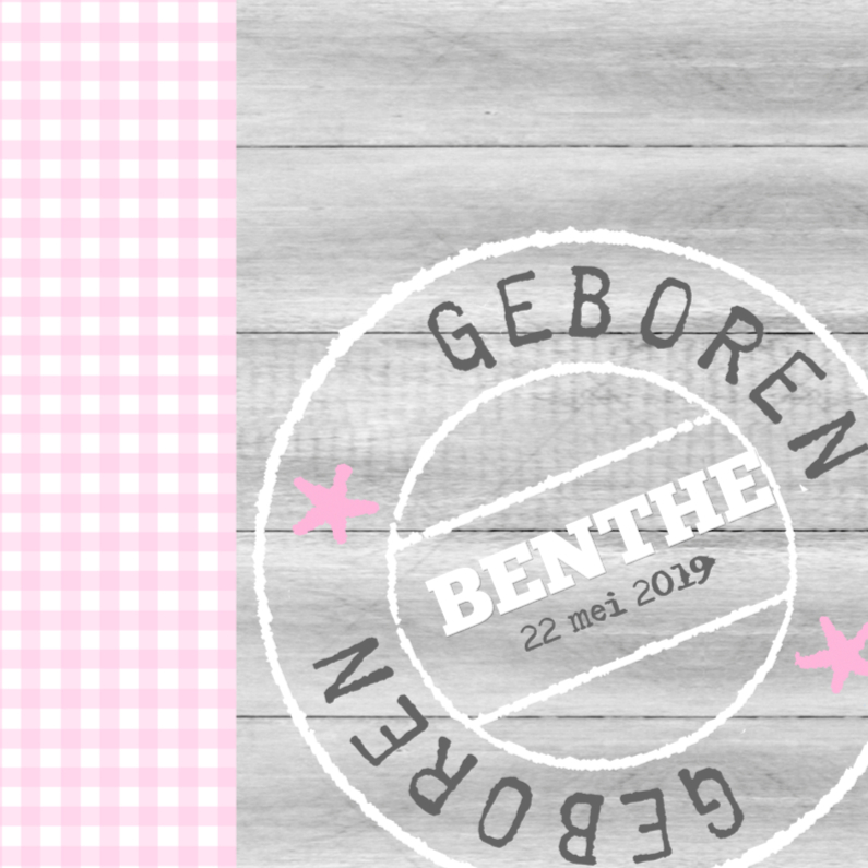 Geboortekaartjes - Bar creatief - Benthe poststempel ruitje