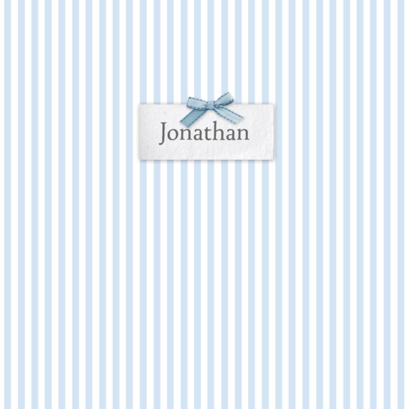 Geboortekaartjes - Bar creatief - Jonathan naamplaatje