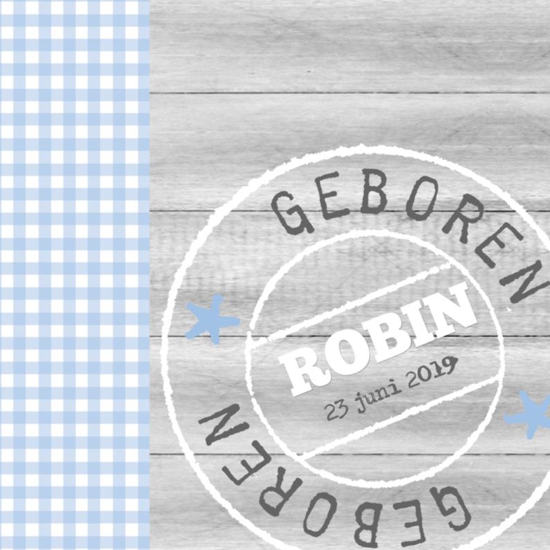 Geboortekaartjes - Bar creatief - Robin poststempel ruitjes