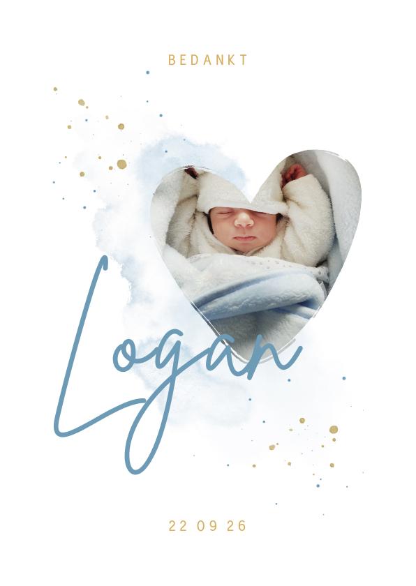 Geboortekaartjes -  Bedankkaartje foto in hartjesvorm blauwe aquarel grote naam