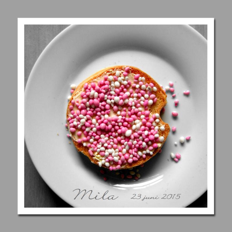 Geboortekaartjes - Beschuit met roze muisjes op bord