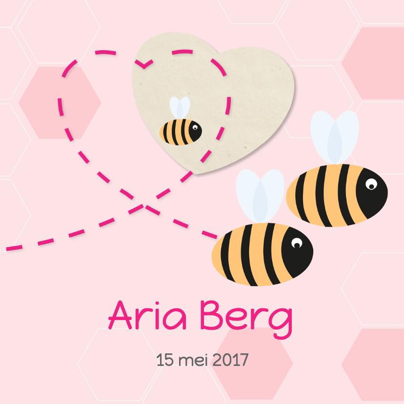 Geboortekaartjes - Bijtjes met roze achtergrond