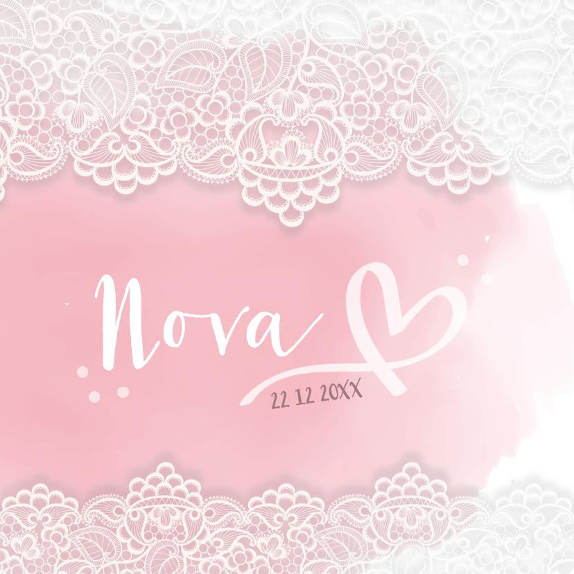 Geboortekaartjes - Bijzonder geboortekaartje met kant voor een lief meisje!