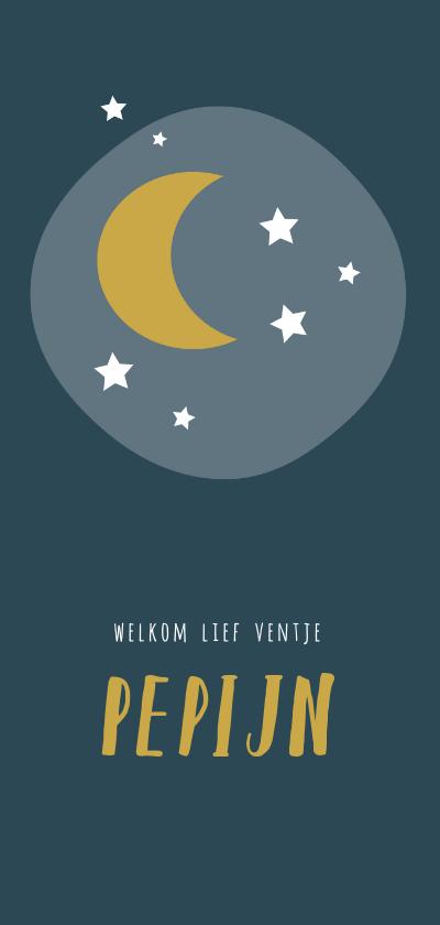 Geboortekaartjes - Blauw geboortekaartje met gele maan en witte sterren