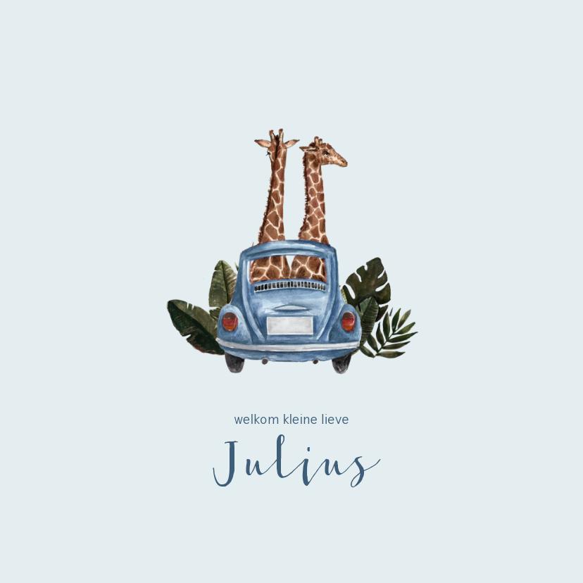 Geboortekaartjes - Blauw geboortekaartje met giraffen in een auto