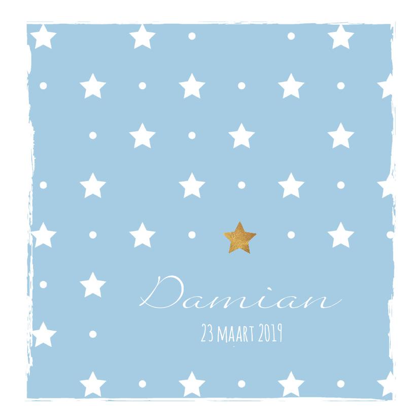 Geboortekaartjes - Blauw geboortekaartje sterren en kader