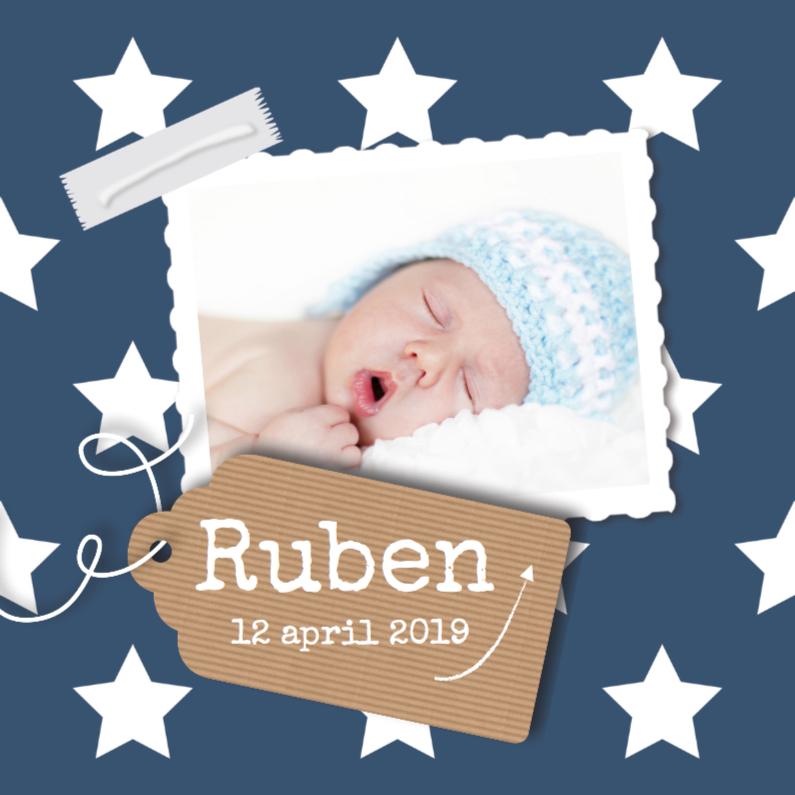 Geboortekaartjes - Blauw geboortekaartje sterren