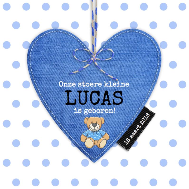 Geboortekaartjes - Blauw hart op stippen voor zoon