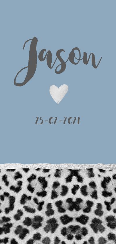 Geboortekaartjes - Blauw panterprint geboortekaartje langwerpig
