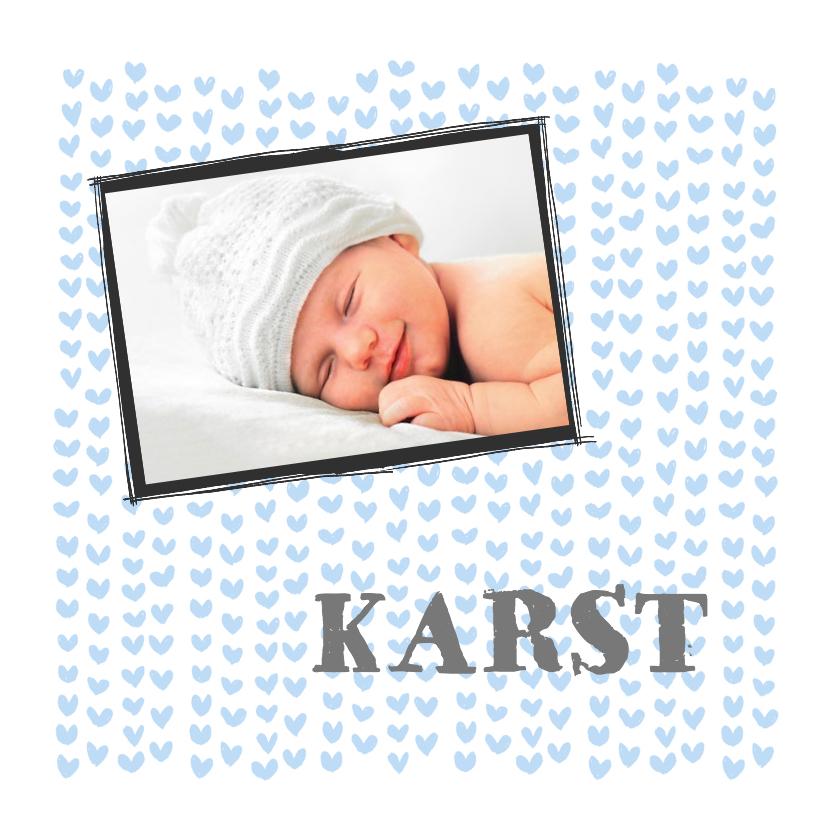Geboortekaartjes - Blauwe hartjes en foto baby