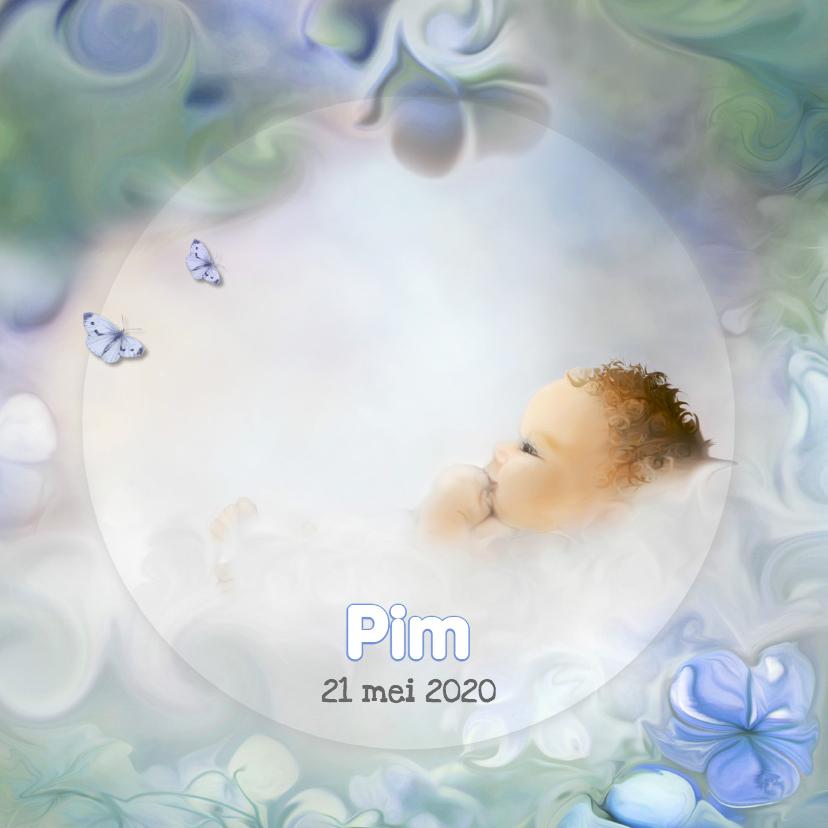 Geboortekaartjes - Bloemen en vlinder -jongen-
