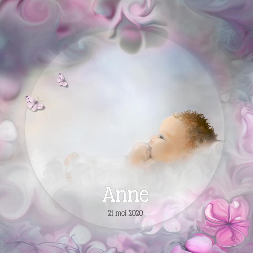 Geboortekaartjes - Bloemen en vlinders - meisje-