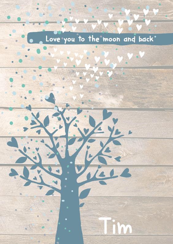 Geboortekaartjes - Boom confetti houtkaartje Tim
