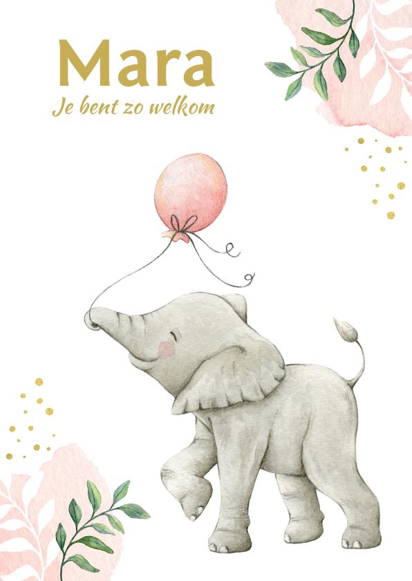 Geboortekaartjes - Botanisch geboortekaartje meisje met lief olifantje