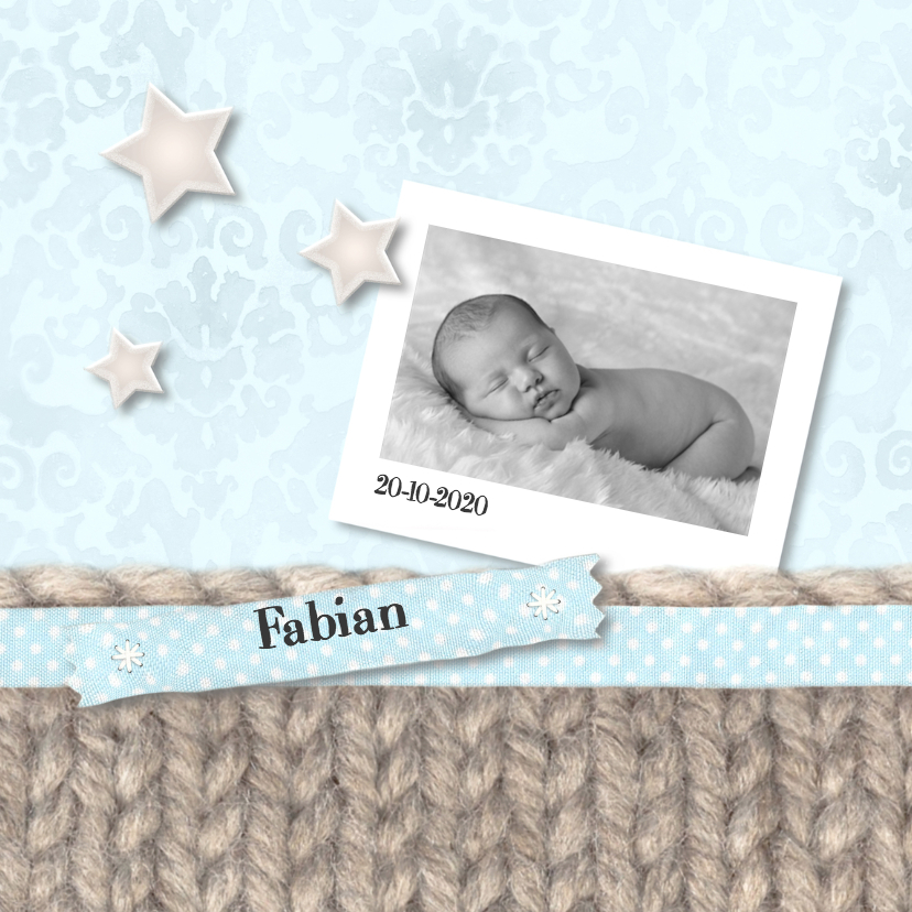 Geboortekaartjes - Breiwerk, lint en sterren