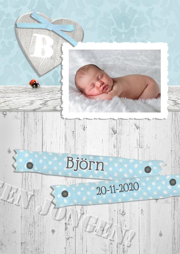 Geboortekaartjes - Brocante,  hout en lint -jongen-