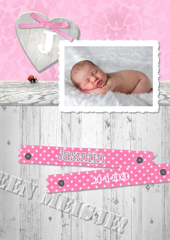 Geboortekaartjes - Brocante,  hout en lint -meisje-