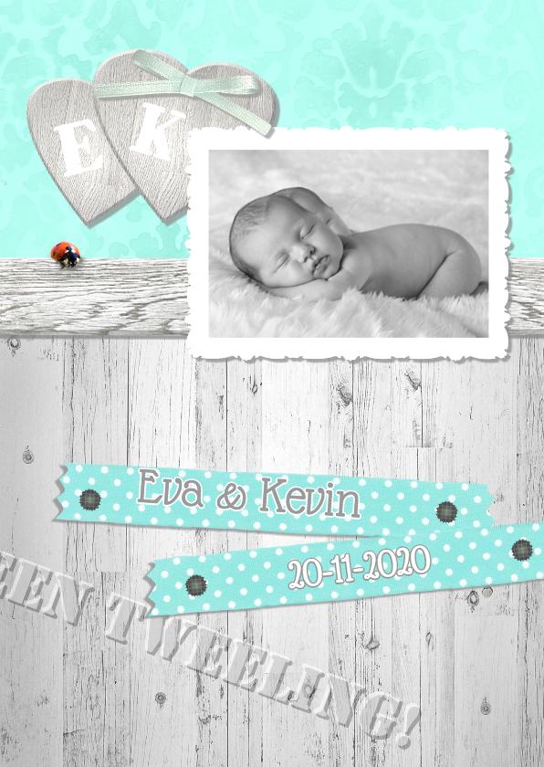 Geboortekaartjes - Brocante,  hout en lint tweeling