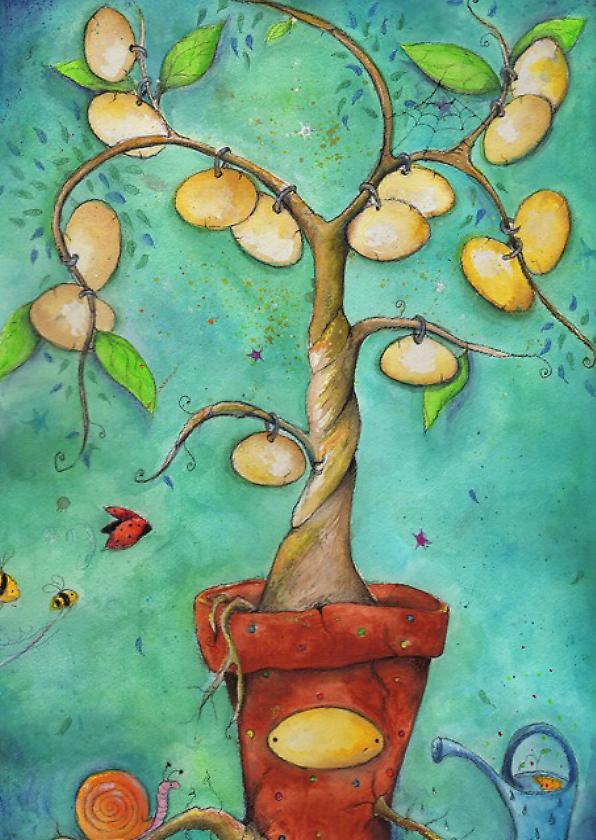 Geboortekaartjes - de familie boom geboortekaart