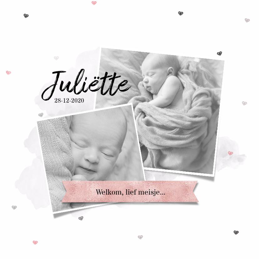 Geboortekaartjes - Diamantjes collage fotokaart