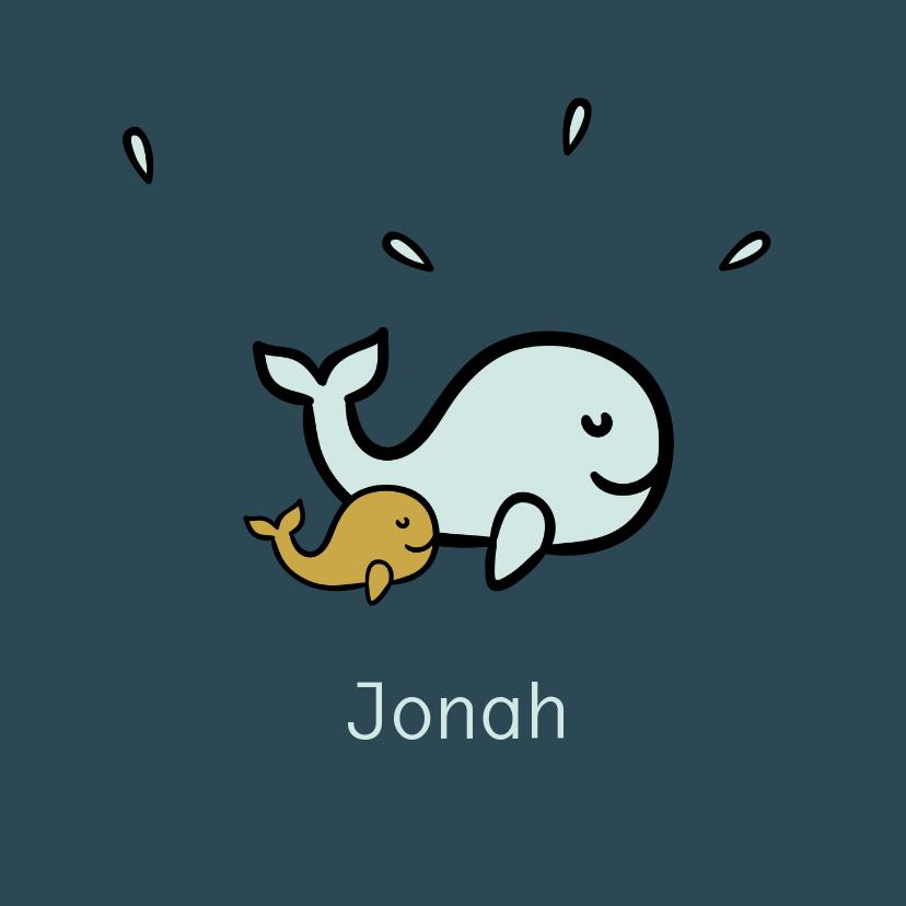 Geboortekaartjes - Donkerblauw geboortekaartje met blauwe en gele walvissen