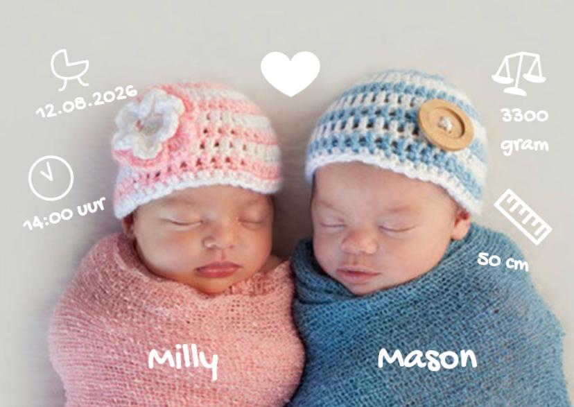 Geboortekaartjes - Doodle sweet twins - DH