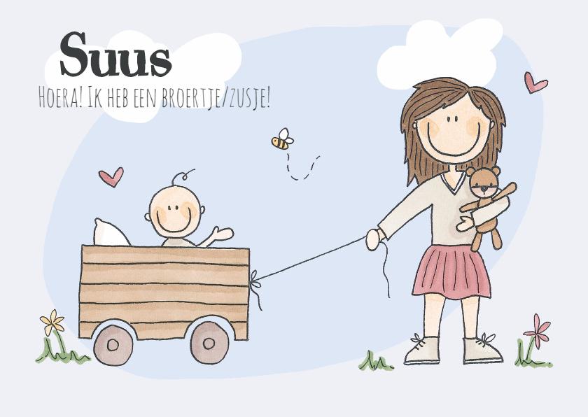 Geboortekaartjes - Een zusje/broertje! Meisje LFZ