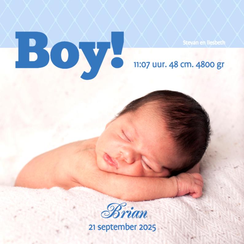 Geboortekaartjes - Foto 4kant Boy! - BK